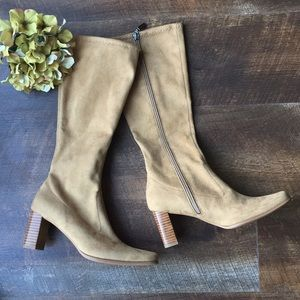 Candie's man made suede camel color boots